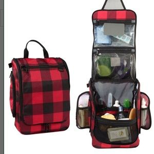L.L. Bean travel make up organizer buffalo plaid